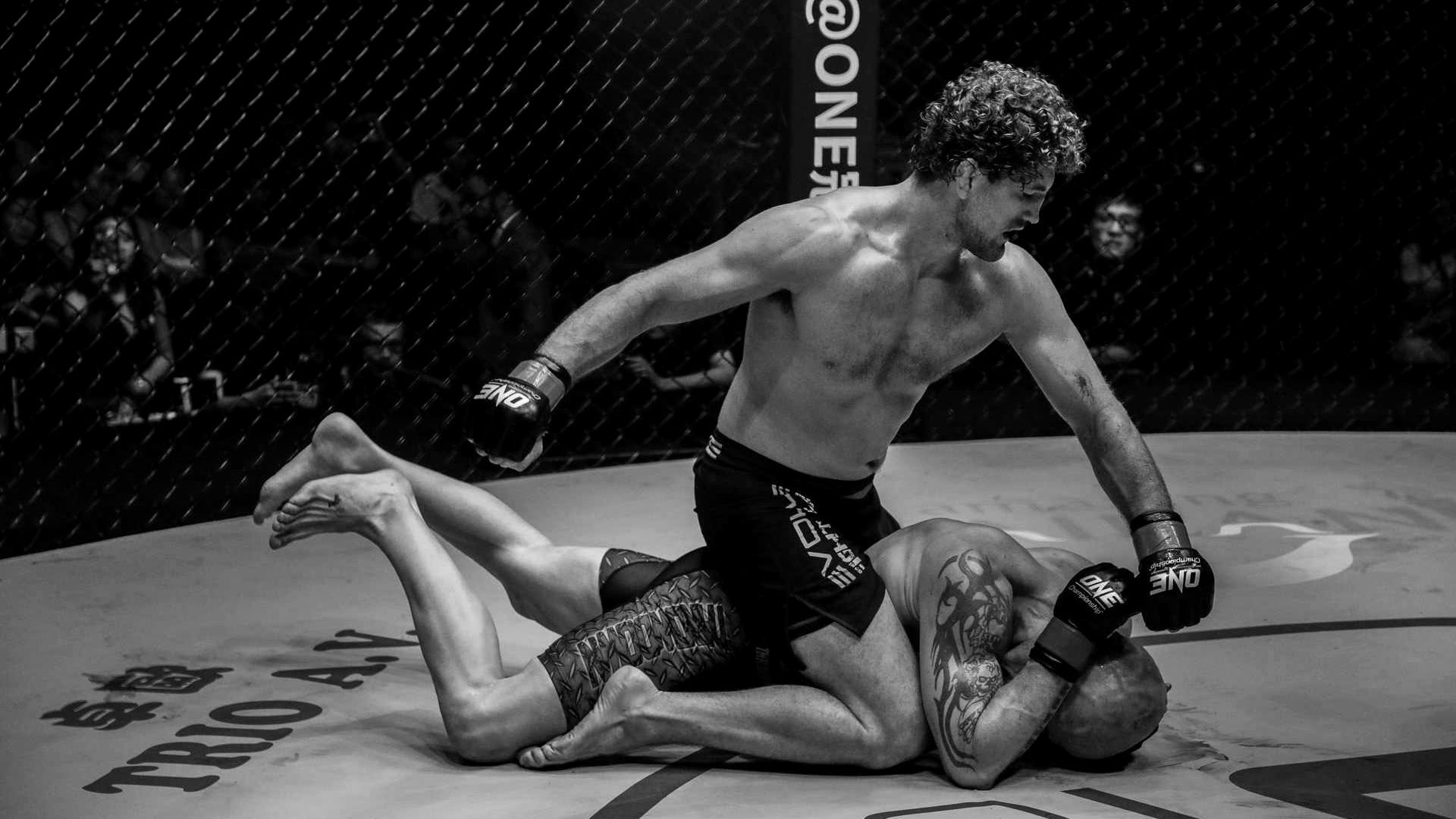 Ben Askren on top of his opponent in a ONE Championship bout